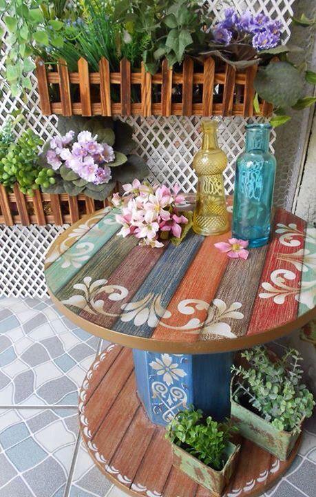 Carretel pintura: | Cosas lindas hogar | Pinterest | Jardín, Palets ...