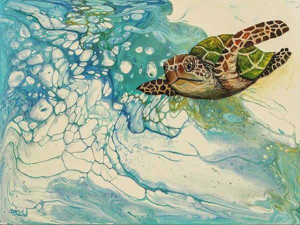 Sea turtle acrylic pour painting prints