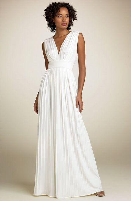 White Empire Style Long Gowns
