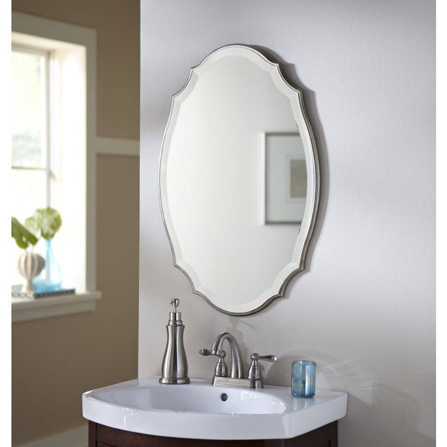 Shop Allen Roth 20 In X 30 In Silver Beveled Oval Framed French Wall Mirror At Lowes Com Oval Mirror Bathroom Round Mirror Bathroom Mirror Decor