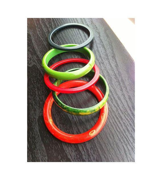 5  Catalin  bracelets 2 Red1 Marbled Green 1 by MjsFunkandJunk, $75.00