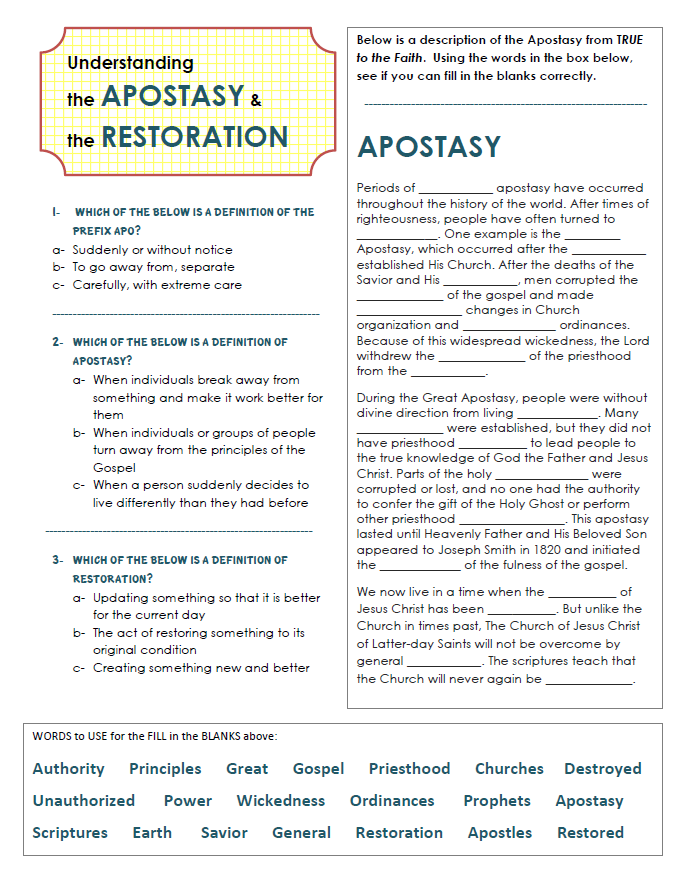 Apostasy And Restoration Worksheet Use This In Your Class For