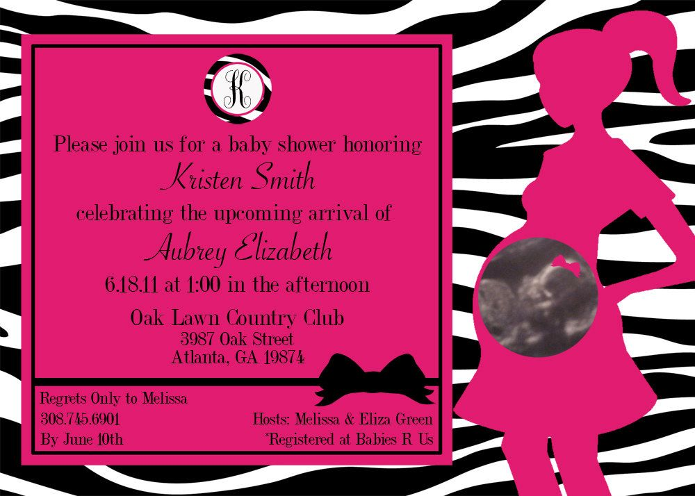 Zebra Pink and Black Baby Shower Invite by sproutmyparty on Etsy ...
