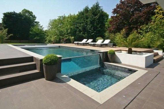 piscine debordement terrasse paroi verre plage carrealge piscine a debordement piscine