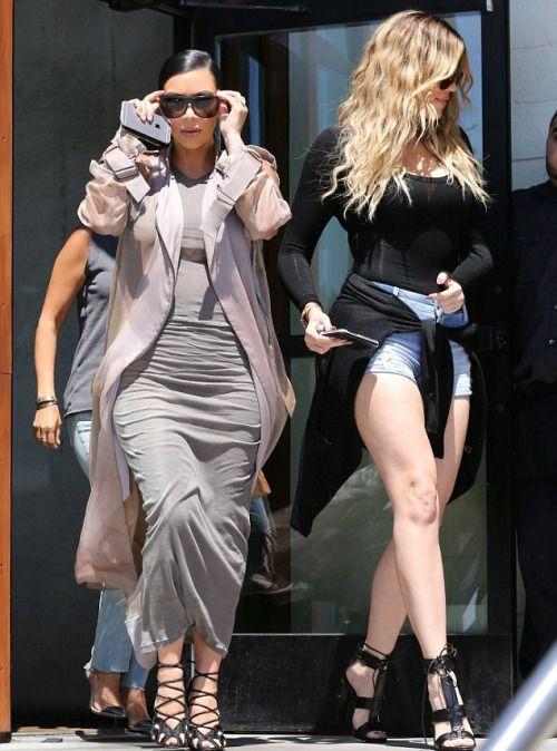 wanna-be-kardashian:   July 14th, 2015 - Kim, Khloe and Kourtney leaving Hugo's restaurant