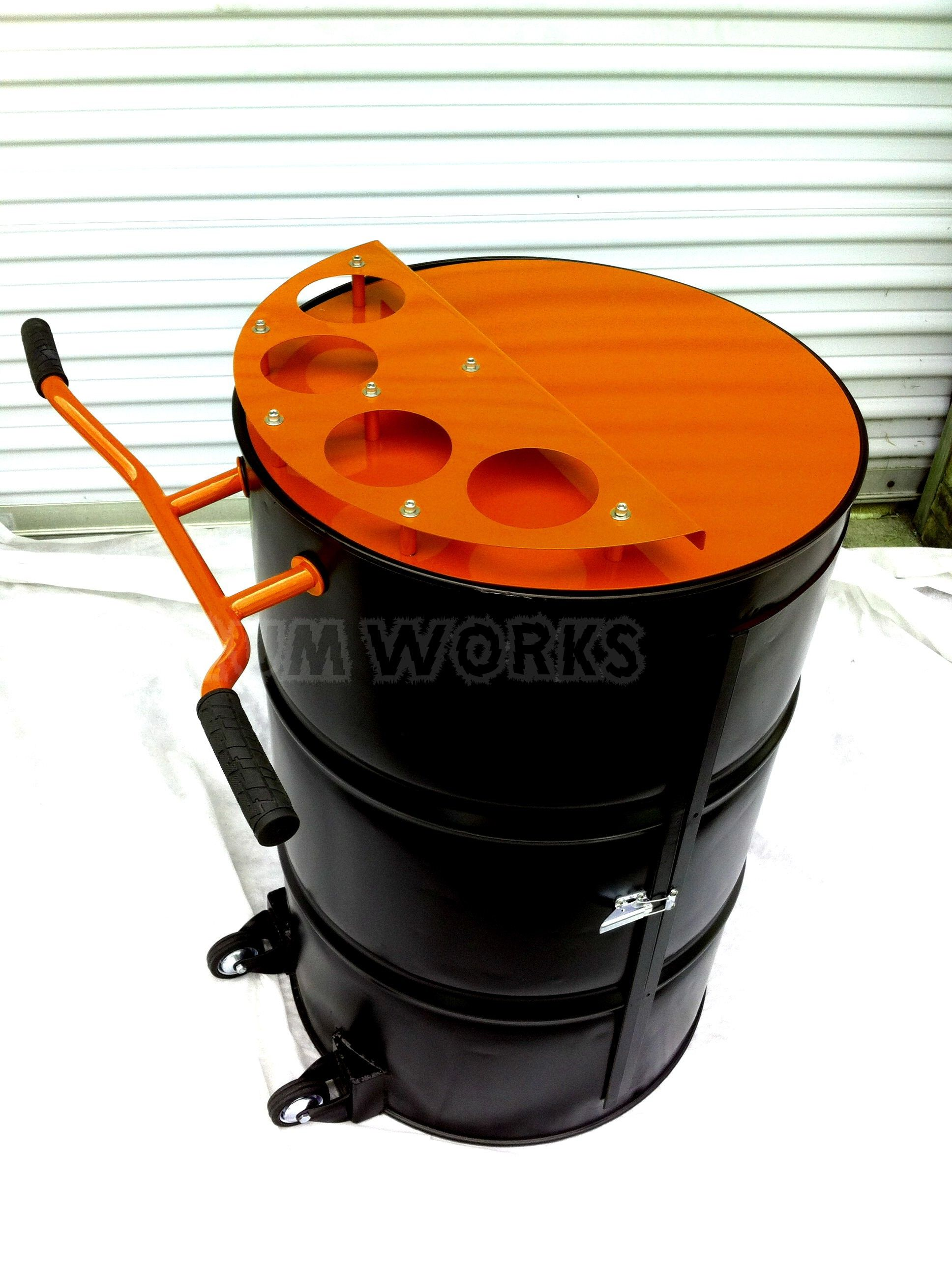 Recycled 55 gallon steel drum made into portable bar Powder coated