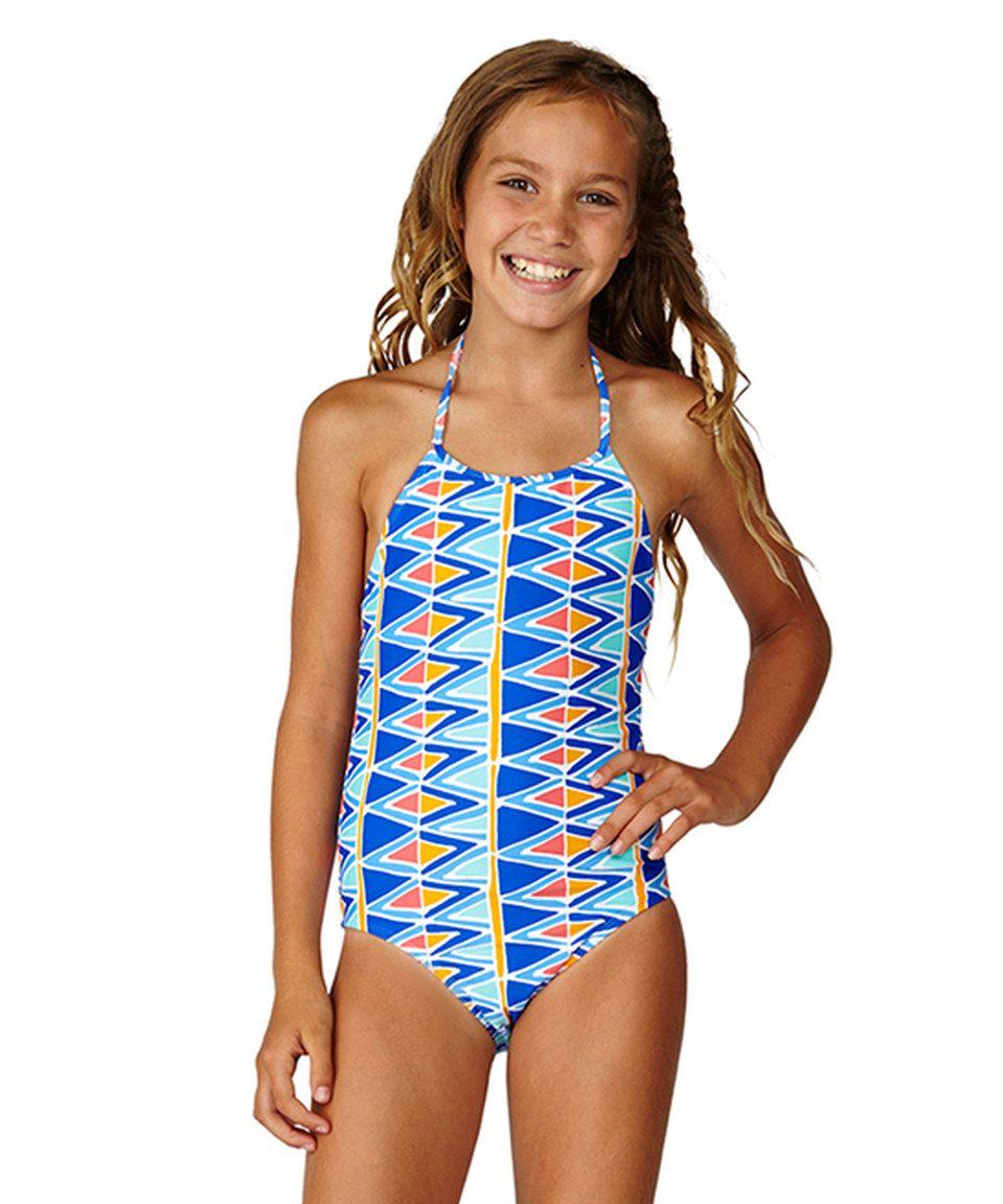 66213b54e7 Blue & Orange Pretty Girl One-Piece - Girls by Raisins Girls #zulilyfinds
