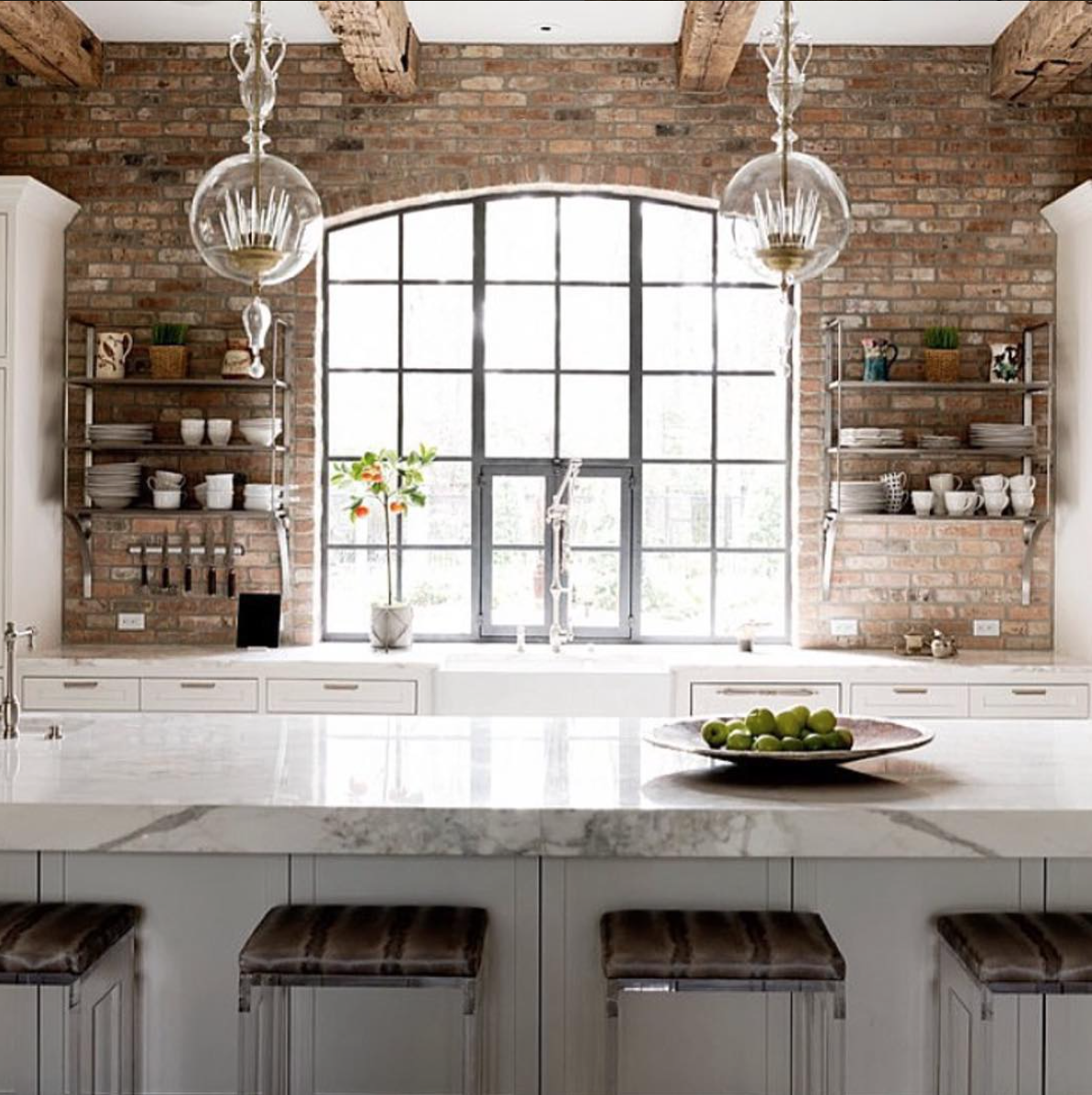 Pin By Tricia Edmonson On Kitchen Update Exposed Brick Kitchen Brick Wall Kitchen Brick Kitchen