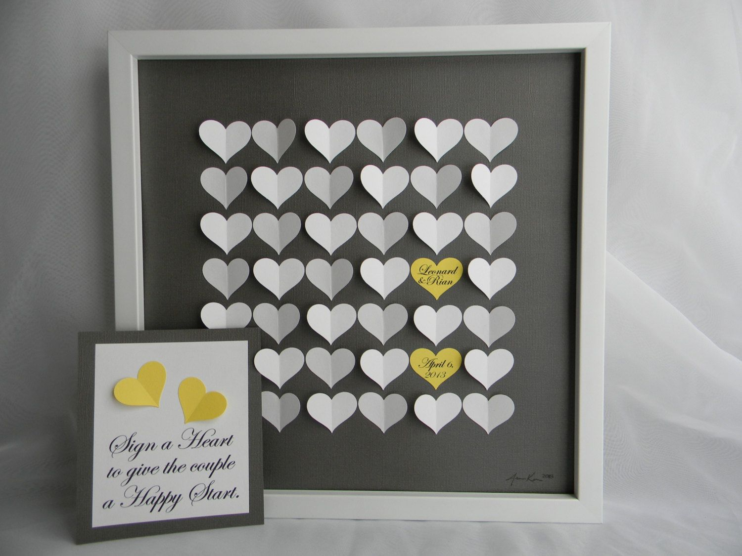 wedding guest book alternative 3d paper hearts lovely bridal shower gift modern guestbook for the