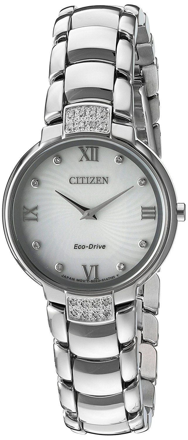 Citizen Women's 'Eco-Drive Diamond' Quartz Stainless Steel Dress Watch, Color:Silver-Toned (Model: EX1460-55A) -- Click image for more details.