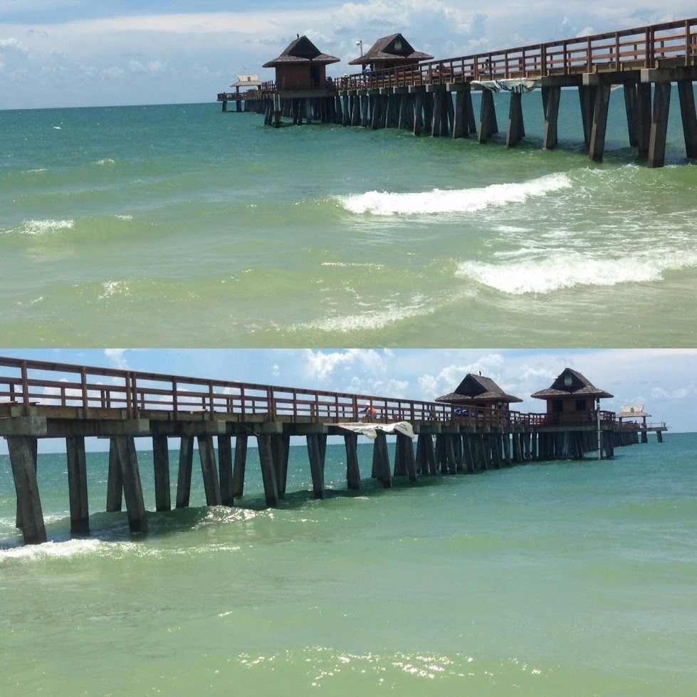 The historic Naples Pier is located on the Gulf of Mexico ...