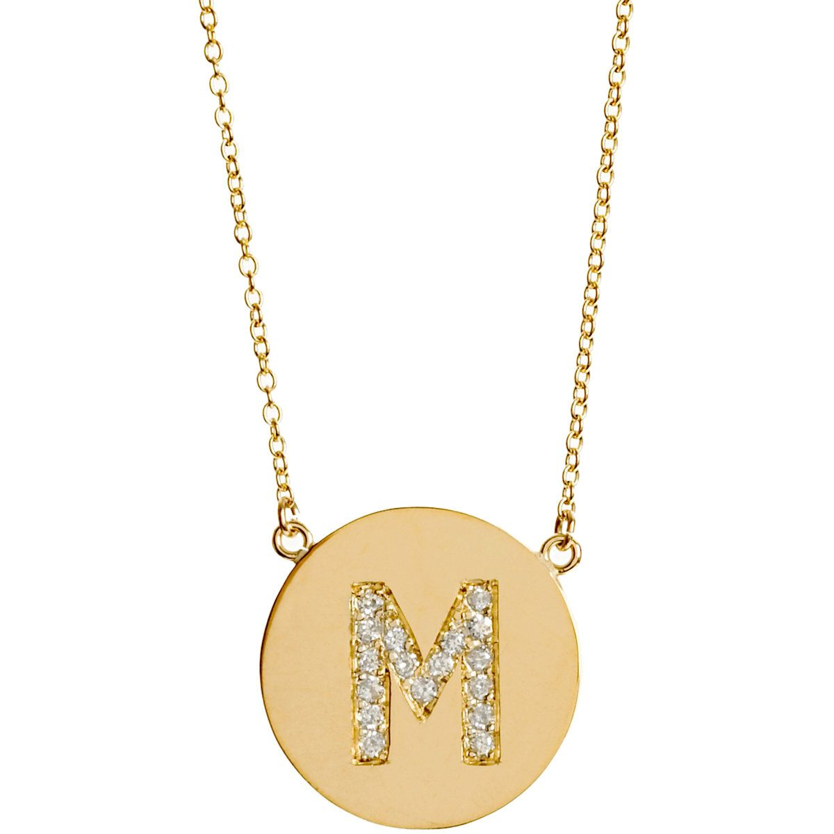 Jennifer Meyer Yellow Gold & Diamond 'M' Pendant Necklace at Barneys.com