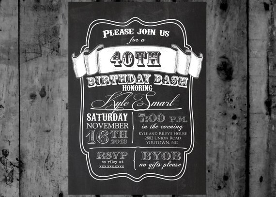 Chalk 40th Birthday Rustic Wood Printable Party Invitation Chalkboard Invite Male Birthd