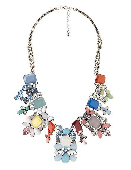 Rainbow Faceted Stone Statement Necklace