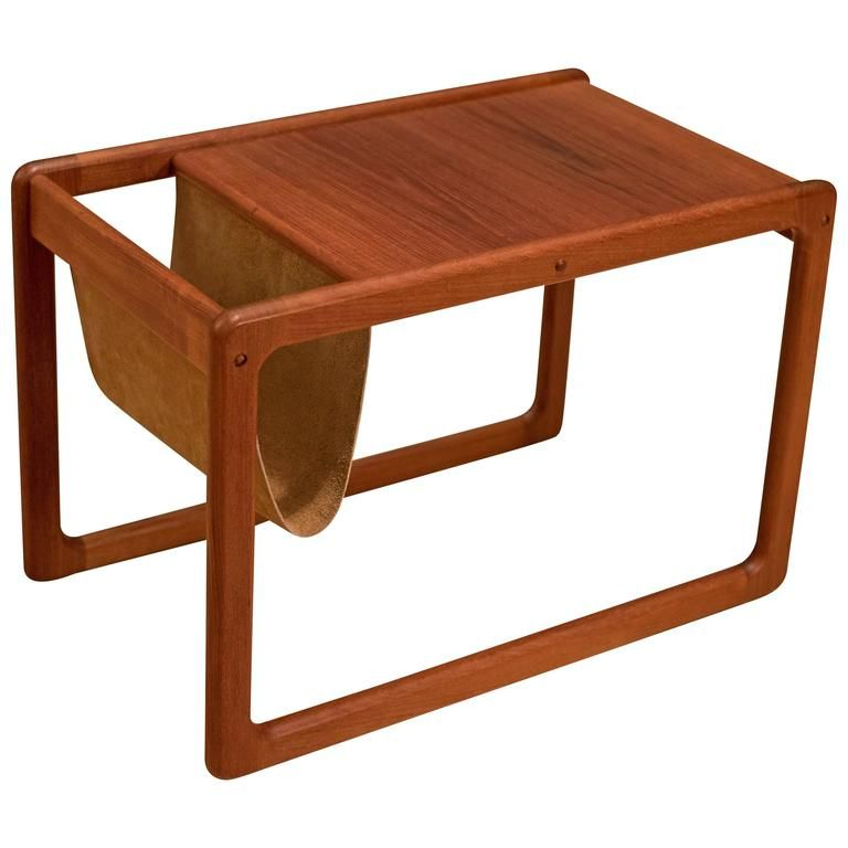 a2661d2242 Vintage Danish Leather Magazine Rack Side Table | From a unique collection  of…