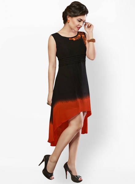 Buy Surat Tex Black Colored Solid Asymmetric Dress For Women Online