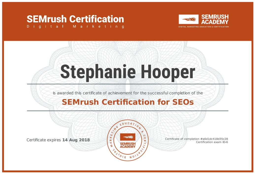 Semrush Seo Certification Stephanie Hooper Infront Webworks In