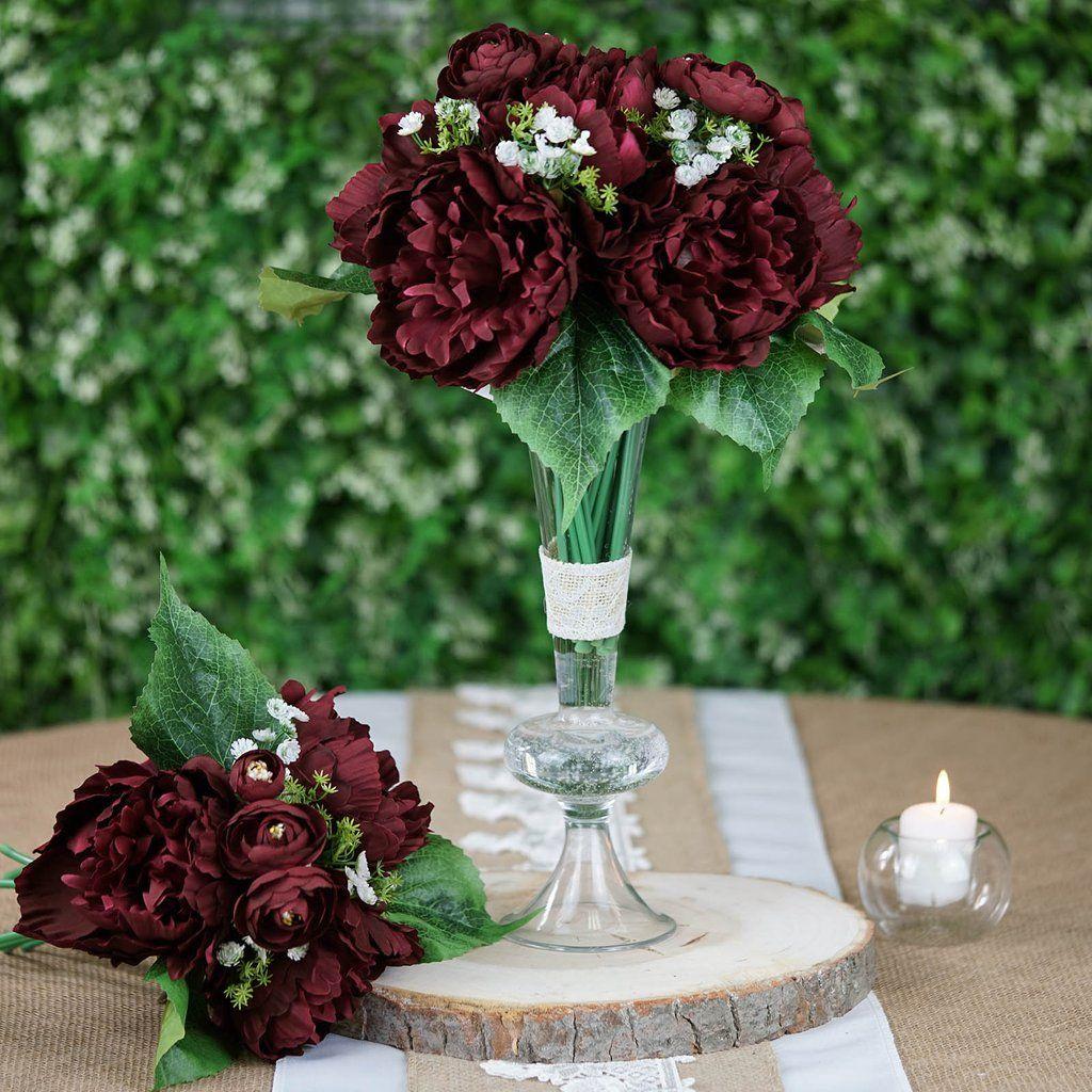 12'' Tall Burgundy Artificial Peony Silk Flowers Bouquet