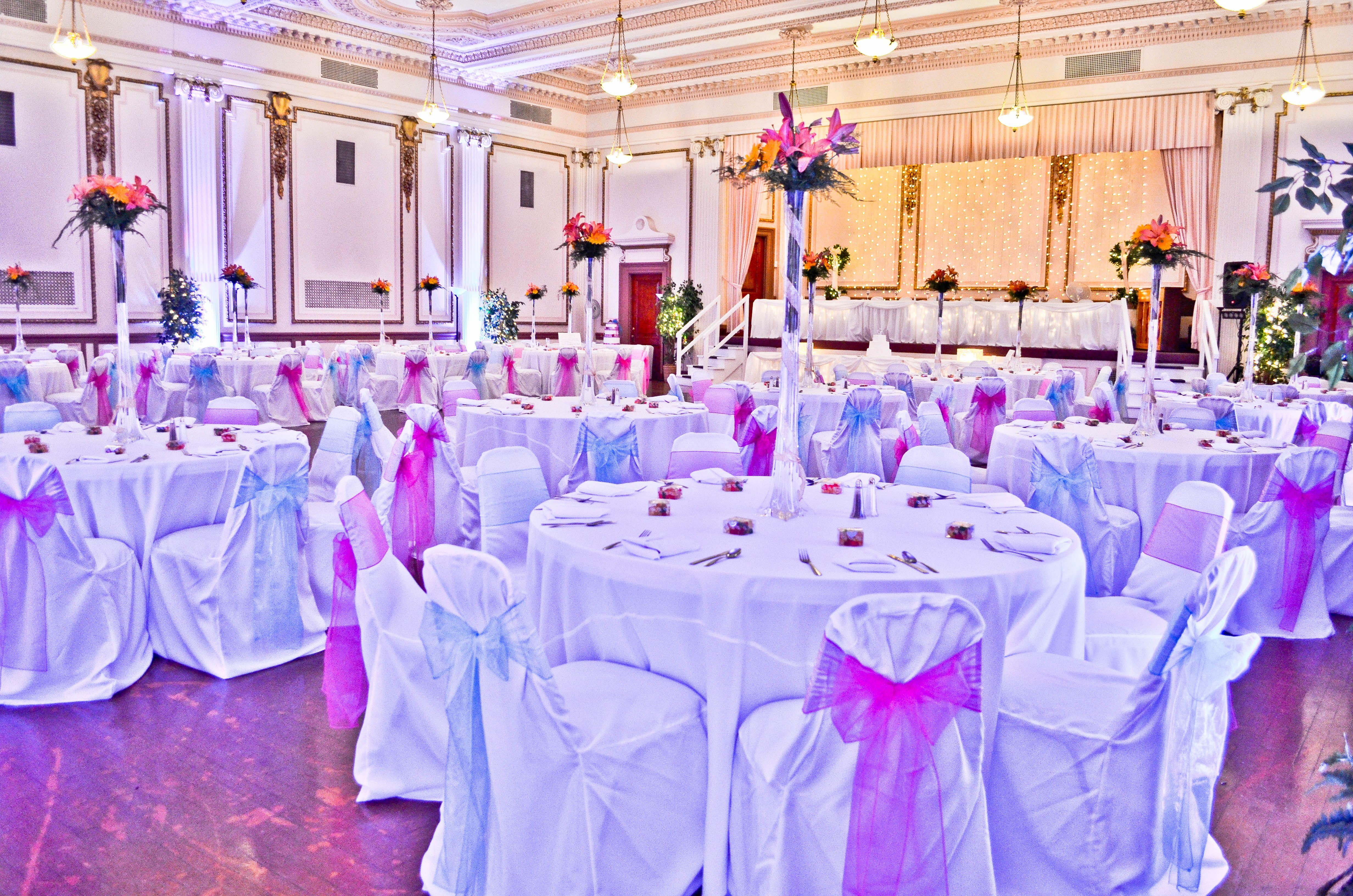 White Banquet Chair Covers Fuchsia & Turquoise Organza Chair