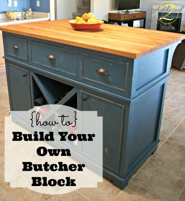 "Portable Center Kitchen Islands How To: Build Your Own Butcher Block | ""hometalk & Funky"