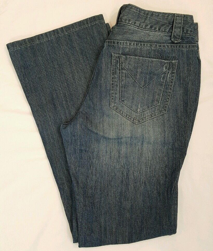 DKNY  medium wash distressed denim straight leg jeans SZ 10 W29 L32 #DKNY #StraightLeg #jeans #womens #distressed