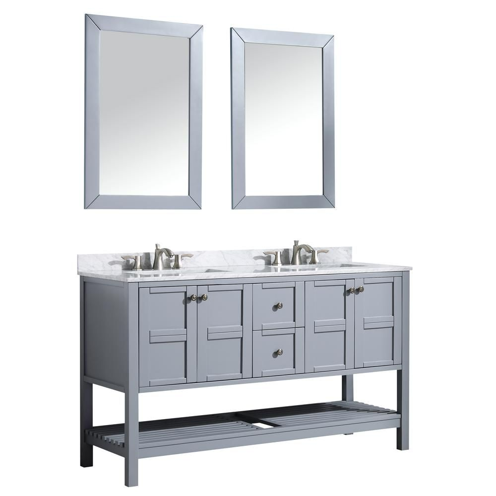 Montaigne 60 In W X 35 75 In H Bath Vanity In Gray With Marble Vanity Top In Carrara White With White Basin And Mirror V Mgg013 60 Marble Vanity Tops Bathroom Vanity Tops Bath