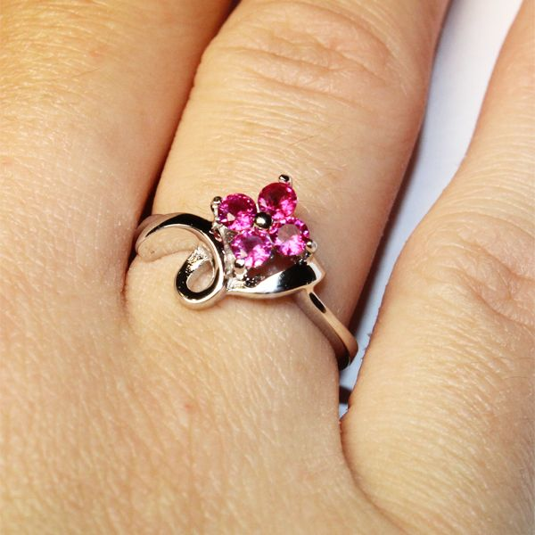 Ruby/Pink Flower Promise Ring - Red/Pink Cubic Zirconia - Beautiful Promise Rings