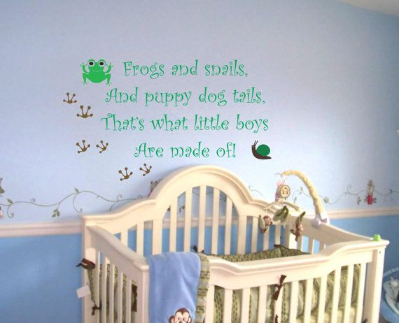 Baby Boy Nursery Saying Frogs And Snails Wall Quote Wall Decal - Baby boy nursery wall decals