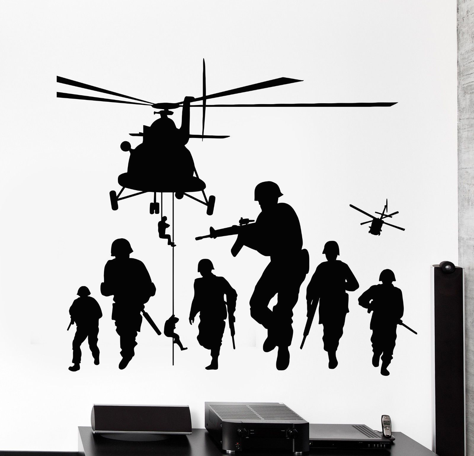 Vinyl Wall Decal Soldiers Patriot War Warrior Helicopter Stickers 1250ig Army Drawing Vinyl Wall Decals Army Poster [ 1537 x 1600 Pixel ]