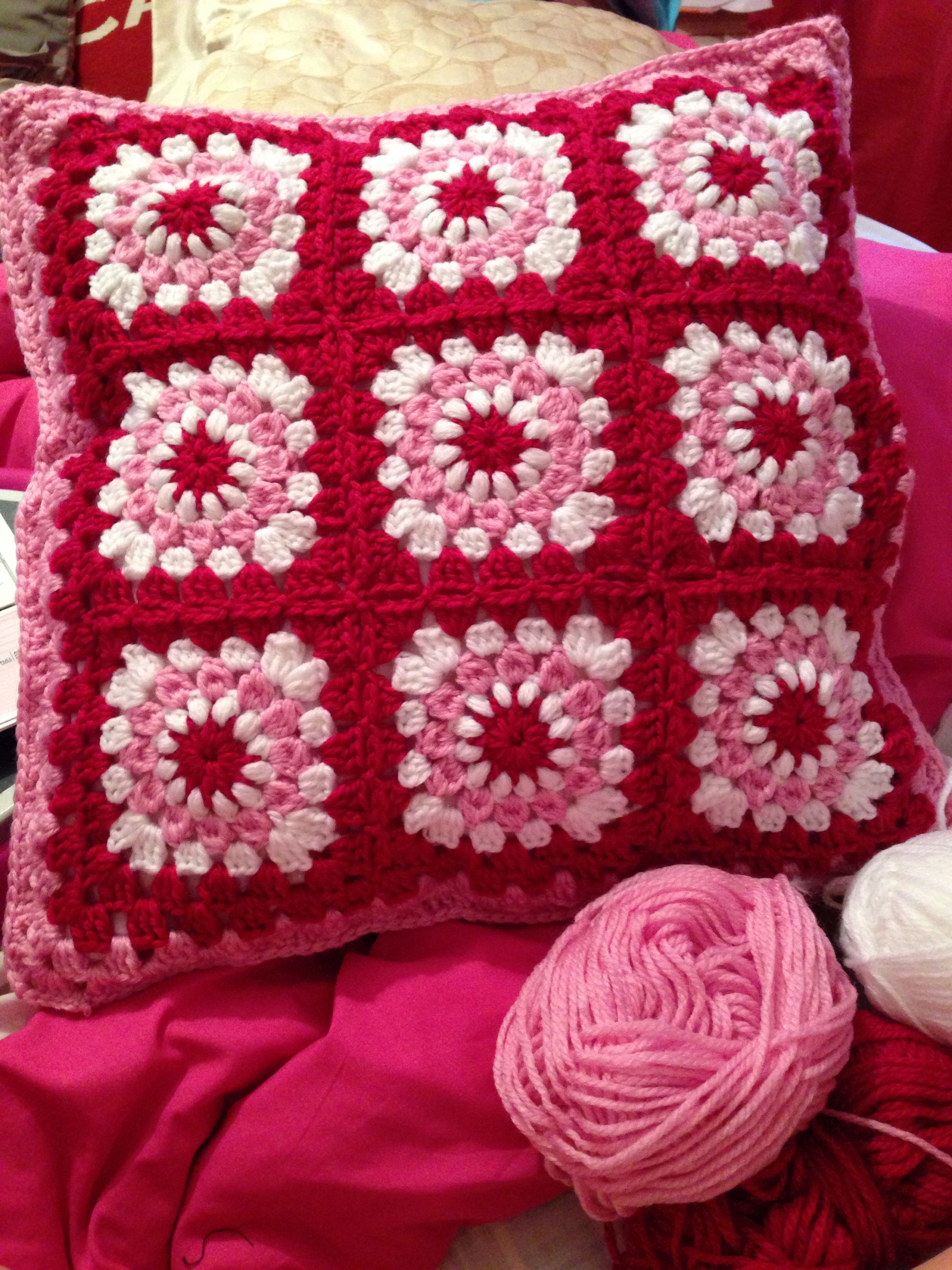 Just Finished Crocheting My Granny Square Cushion Based On Youtube