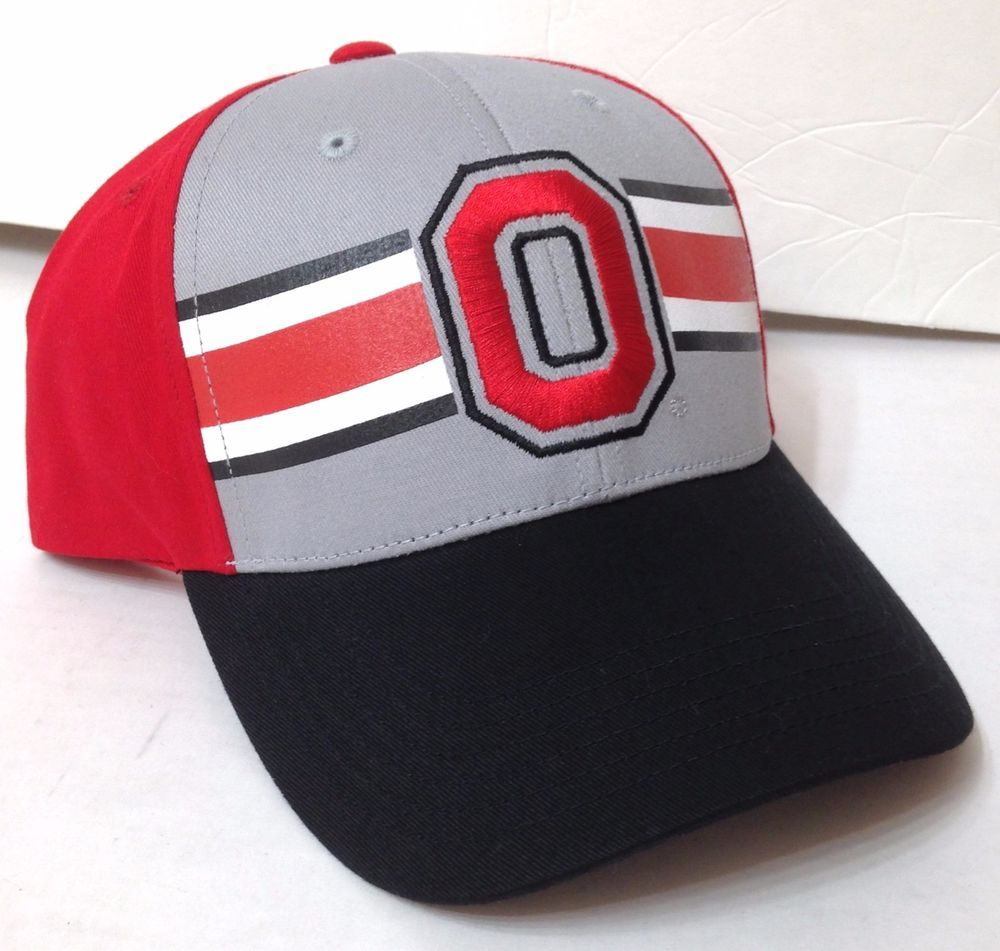 12d7caef648 New OHIO STATE BUCKEYES HAT Gray Red White Black Striped Curved-Bill  Men Women  Fan1  OhioStateBuckeyes