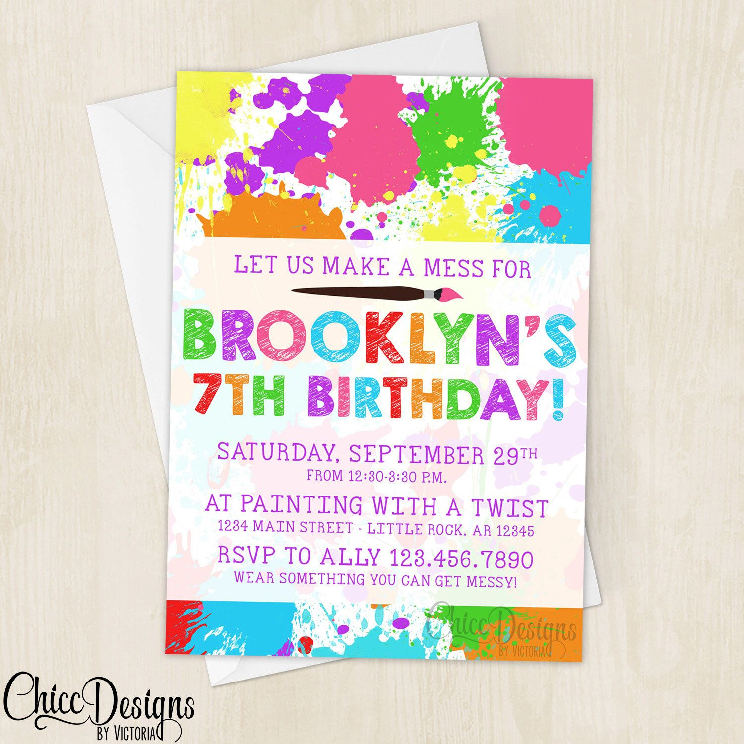 Art Party Invitation - Paint Splatter - Colorful - Messy Party ...