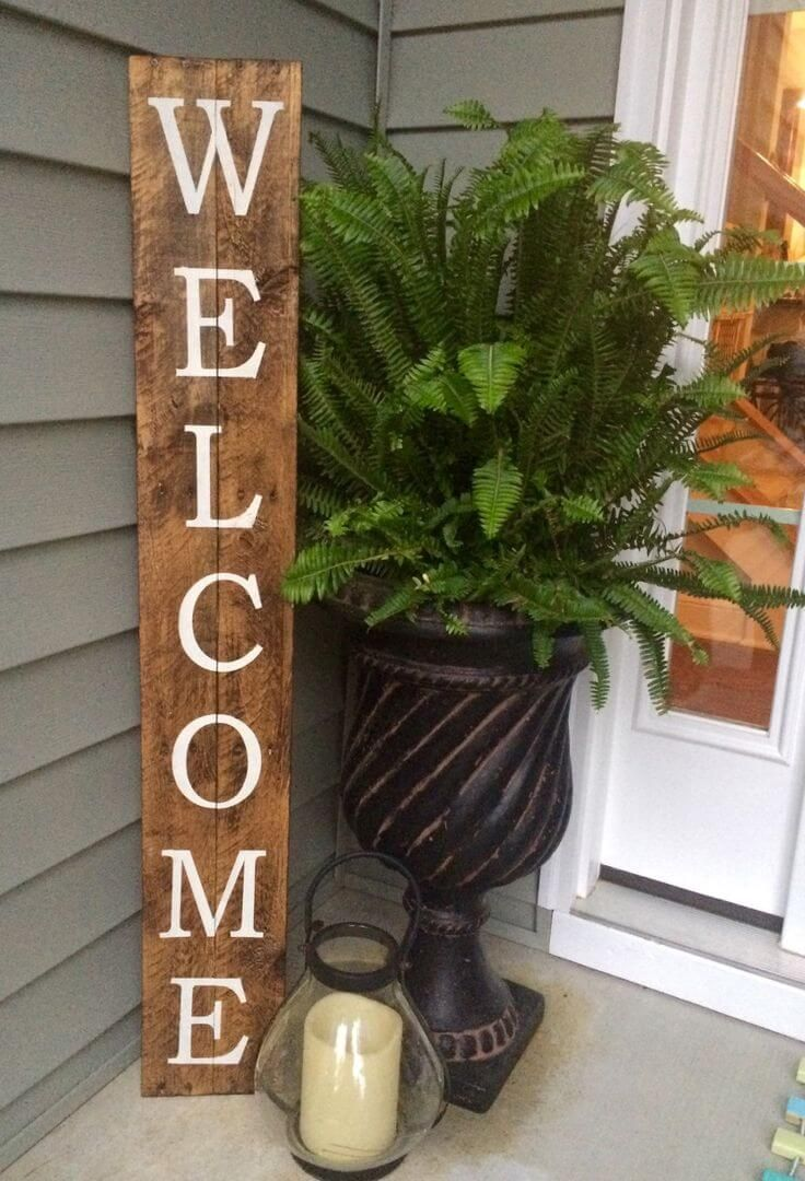 32 pretty spring porch decor ideas to celebrate the season diy rustic wood welcome sign solutioingenieria Images