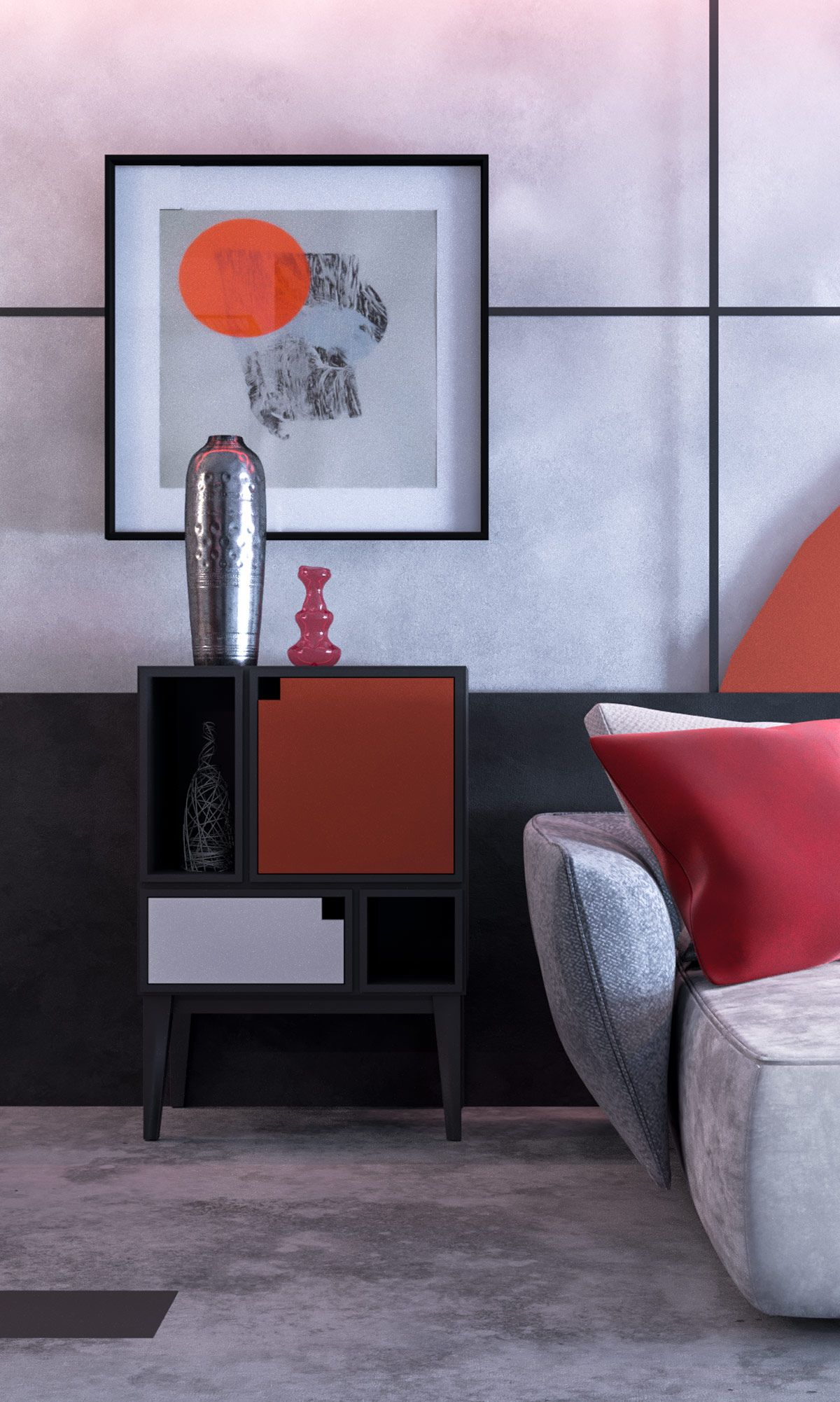 Modern Red And Grey Interiors With Japanese Influences Living Room Design Decor Grey Interior Design Grey Decor #red #and #grey #living #room #accessories