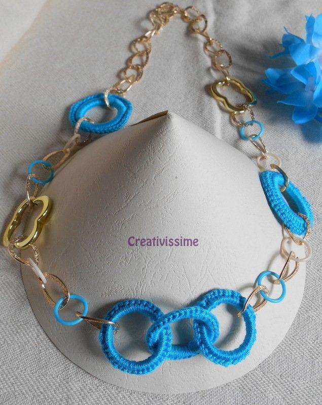 Collana Alluncinetto Con Cerchi E Catena Oro Fatta A Mano Azzurro