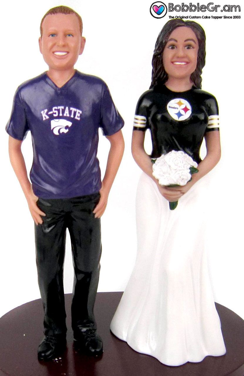 Custom Football Themed Wedding Cake Topper | Football themed ...