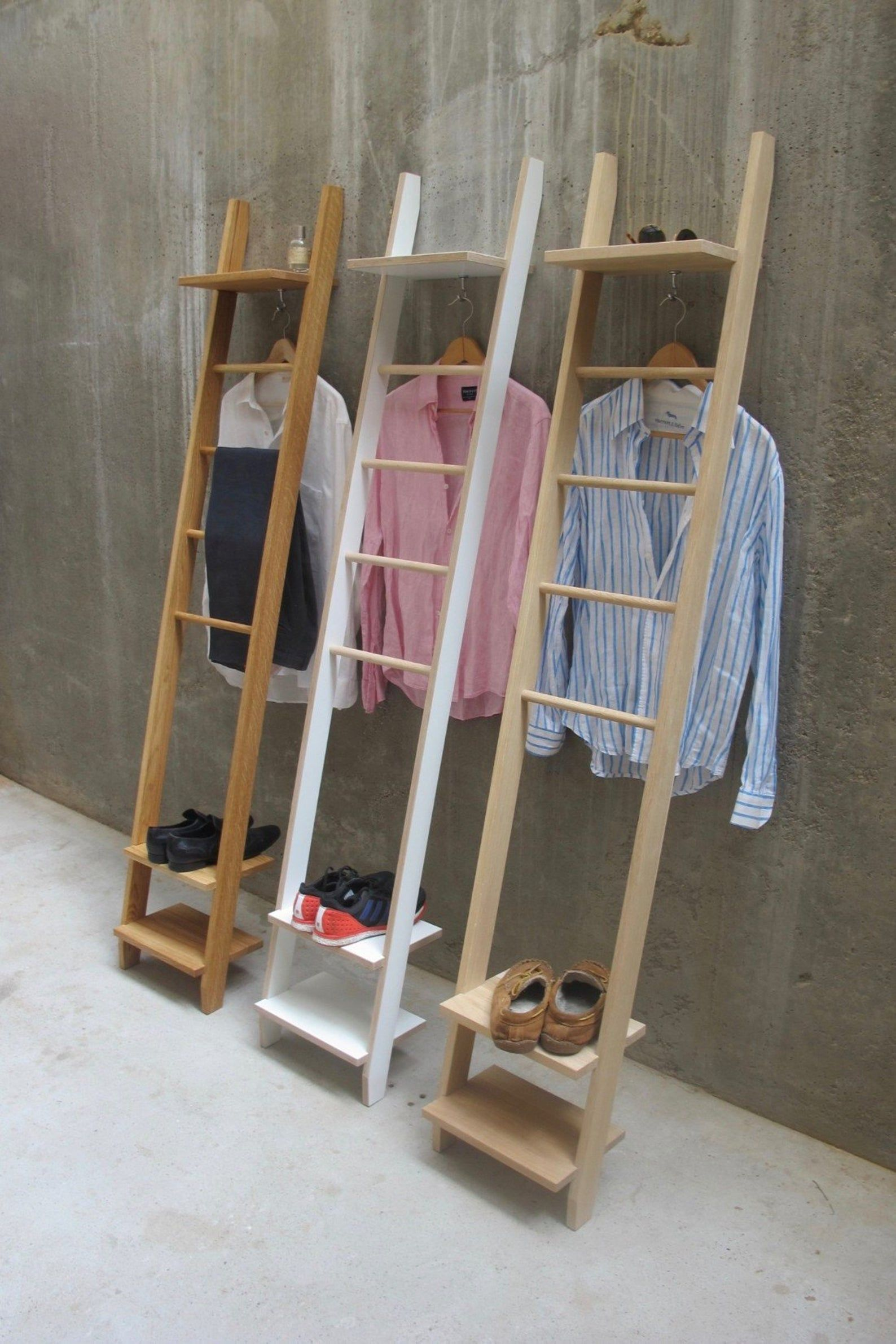 The Tb 14 Clothes Ladder With Shelves Kledierleiter Mit Etsy In 2020 Shelves White Laminate Shoe Shelves