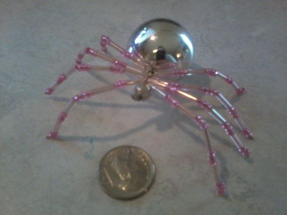 Pink & Silver Christmas Beaded Spider Sun Catcher by SarasSpiders, $15.00