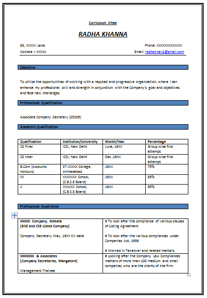 Format For Resumes Resume Format For Experienced Company Secretary 1  Career