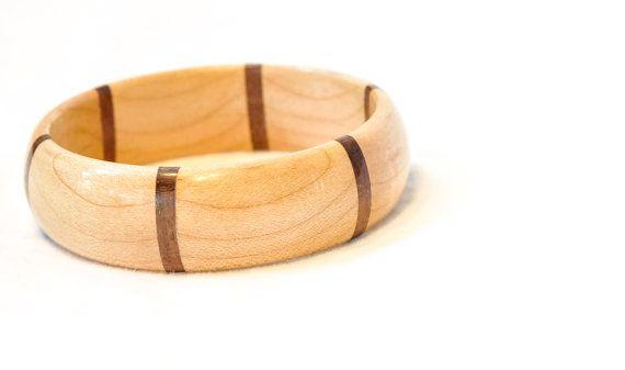 Handmade Wooden Bangle Made From Maple And Mahogany Stripes