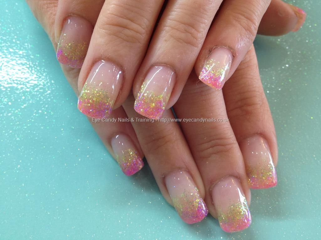 Yellow and pink glitter fade over acrylic nails