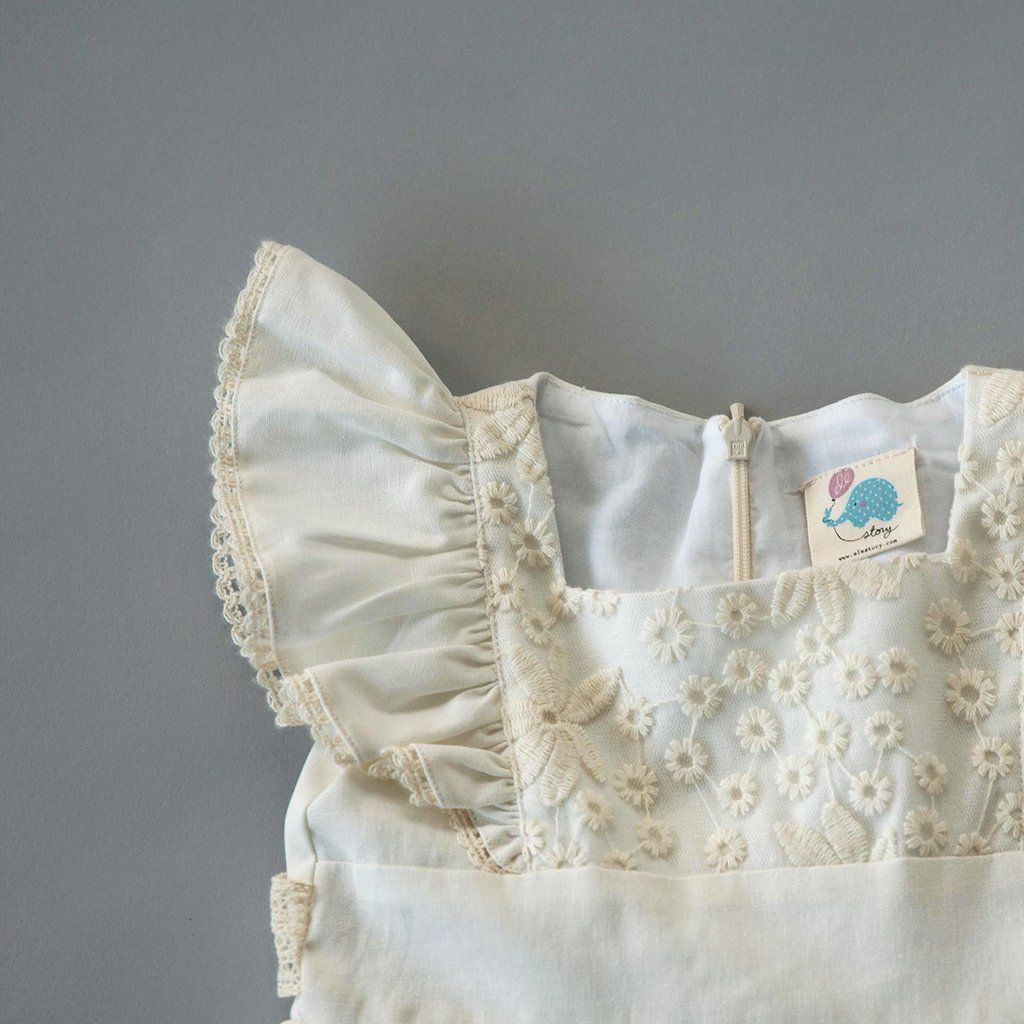 Flutter Dress -  French White Linen