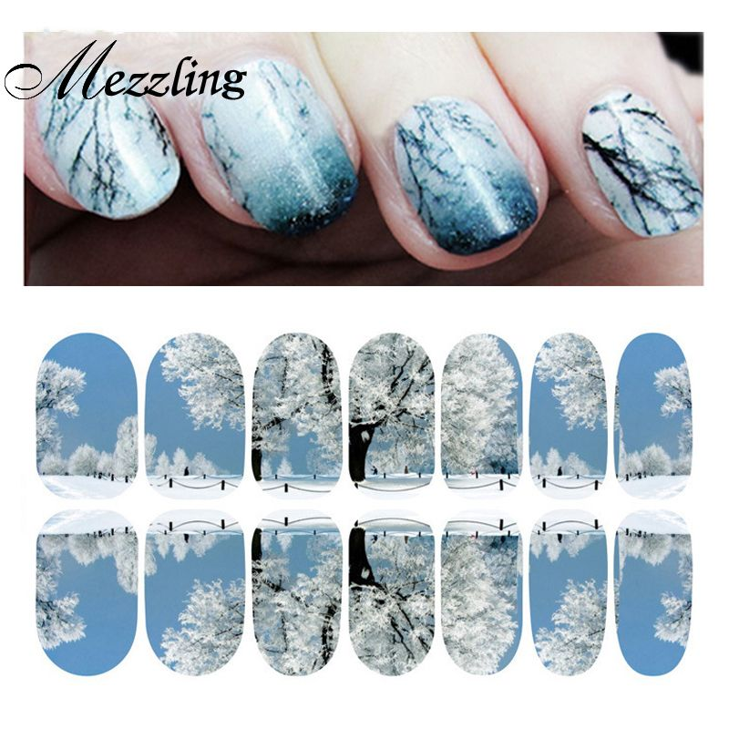 Landscape Full Cover Nail Stickers and Decals,2sheet/lot Adhesive ...
