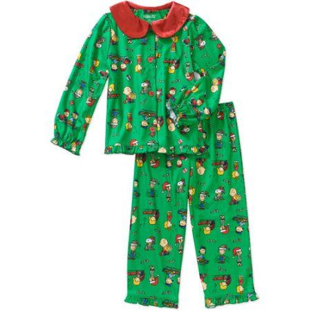 dcbe472a8 Peanuts Toddler Girls  Holiday Button Down Pajamas 2-Piece Set
