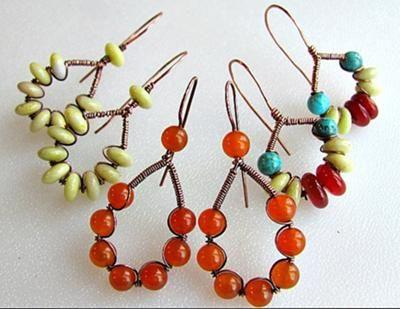 Wire and bead earrings / from art z jewelry #diy #earrings