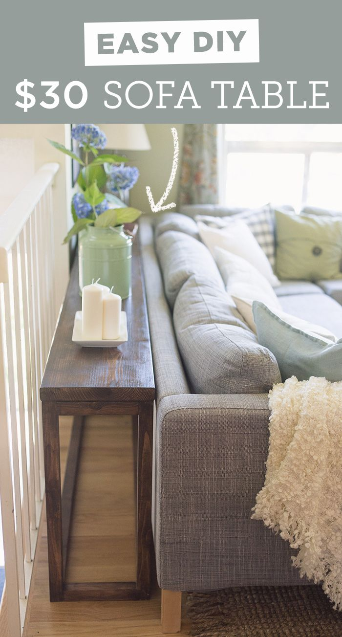 Photo of Make this simple DIY sofa table using only a drill and saw!