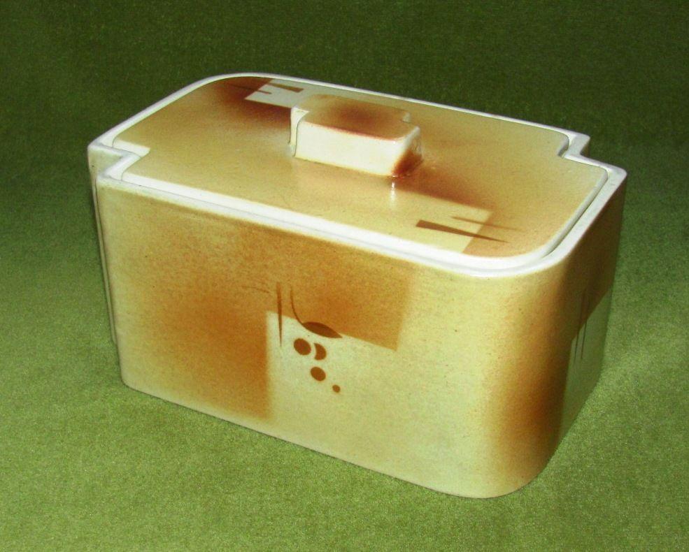 Art Deco Deckeldose Keramik Spritzdekor; Münchener Manufaktur; Braun Töne