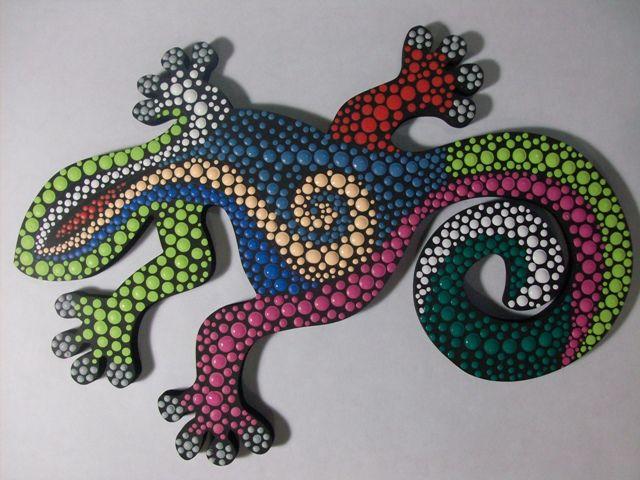 Salamandra En Puntillismo Manosalaobratv Mosaic Art Dot Painting Mandala Canvas