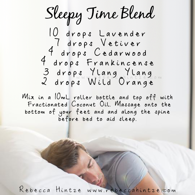 """""""Sleepy Time Blend 10 drops Lavender 7 drops Vetiver 4 drops Cedarwood 4 drops Frankincense 3 drops Ylang Ylang 2 drops Wild Orange  Mix in a 10mL roller bottle and top off with Fractionated Coconut Oil. Massage onto the  bottom of your feet and and along the spine before bed to aid sleep."""""""