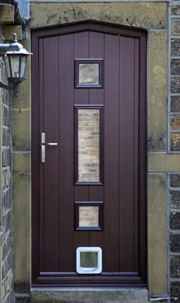 Bespoke composite doors made \u0026 fitted by Composite Doors Yorkshire & Bespoke shaped Genoa composite door in Rosewood with cat flap ...